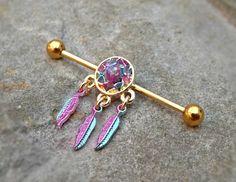 Gold Industrial Barbell Dream Catcher Fire Opal Center 14ga Body Jewelry Ear Jewelry Double Piercing Feathers