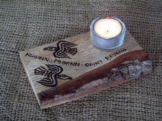 Huginn & Muninn T-light holder. Odins Ravens. Corvid, Pagan, Heathen, Viking, Norse, Decor, Gift, Handcrafted, OOAKt by Touchwoodcraft on Etsy