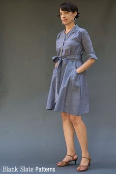 Marigold from Blank Slate Patterns. I LOVE the collar and the gathers at the shoulder. Shirt dress with tie, skirt, and peplum shirt.