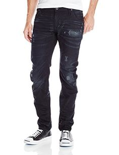 G-Star Men's Arc 3D Slim Fit Jean In Black Hydrite Denim, Medium Aged Destroy, 38x32. (38W x 32L) Size. Intricately crafted with 3d design principles evolved from the g-star Elwood, the arc pant uses twisted seams to create a bowed fit that turns around the leg. For the wearer, this means a slim fit with exceptional comfort and mobility. In dark 12.3oz denim woven with a semi-compact construction and sharp twill lines. This piece is finished with a medium aged character that builds...