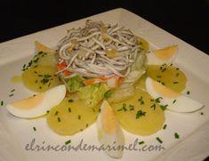 ensalada de gulas con patata y huevo cocido