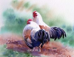 Watercolor of my favorite -- chickens!