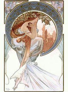 Nouveau The Arts Poetry by Alphonse Mucha Fine Art Print