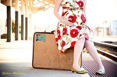 Train Station Suitcase Baby Bump Photo