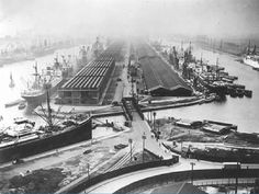 It doesn't look like this any more - the site of London City Airport looking west. To the left, King George V Dock to the right, Royal Albert Dock, now called Gallions Point Marina; London City Airport, London Street, East End London, Old London, Liverpool Docks, London Docklands, Isle Of Dogs, Abandoned Ships, Places