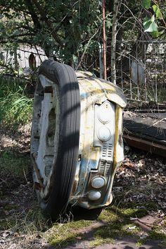 Bumper car in abandoned amusement park in Chernobyl.