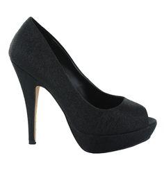Zapato Peep Toe alto en Negro. Brillante y llamativo. Ref.6526  //High Peep Toe platform heel in Black. Shiny and striking. Ref.6526