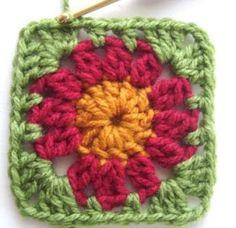 Hekel Idees: Sirkelblom Granny Afrikaans, Crochet Granny, Pot Holders, Crochet Patterns, Granny Squares, Squares, Hot Pads, Potholders, Crochet Stitches