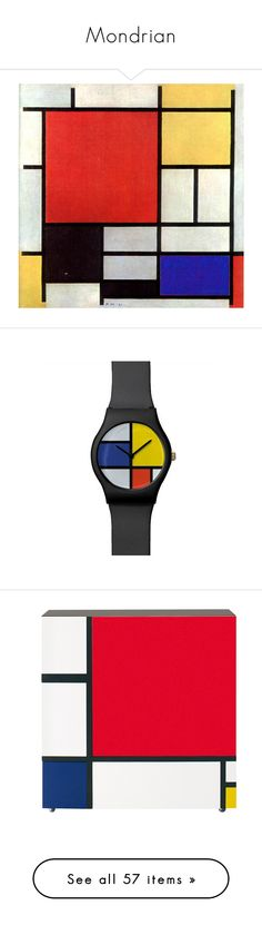 """""""Mondrian"""" by sally-simpson ❤ liked on Polyvore featuring jewelry, watches, home, furniture, storage & shelves, cabinets, lacquer cabinets, lacquer furniture, drawer cabinet and door cabinet"""