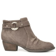 Hardware meets softwear. You'll love how this bootie has a little bit of everything you love, right down to the comfort.Relaxed finish upperWider forepart and built in stitching for a rugged lookHammered metal ring holds riveted straps apartMemory Foam Cool Fit™ insole1 and 1/4 inch leather wrapped stacked block heel