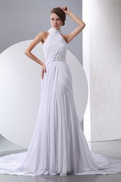 Chape A-line Natural Ruched/Beading/Crystals/Belt Halter Train Romantic Zipper Floor-length Chiffon Sleeveless White Wedding Dress Ruched Wedding Dress, Wedding Dresses 2014, Classic Wedding Dress, Gorgeous Wedding Dress, Cheap Prom Dresses, Cheap Wedding Dress, Wedding Gowns, Bridal Gowns, Different Dress Styles