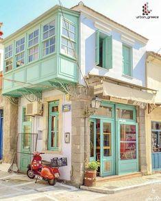House in Lesvos island, northeast Aegean sea, Greece Interior Exterior, Exterior Design, Interior Architecture, Bg Design, House Design, Beautiful Buildings, Beautiful Places, Belle Villa, Cute House
