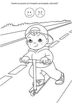 Educazione Stradale – disegni da colorare Human Drawing, Baby Drawing, Preschool Printables, Preschool Crafts, Realistic Drawings, Cartoon Drawings, Tractor Coloring Pages, Safety Kit, Memory Games