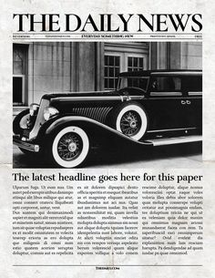 Vintage InDesign Newspaper Template By Newspaper Templates On  @creativemarket