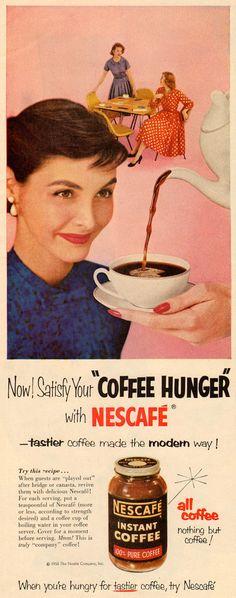 Vintage Nescafe #ads #marketing #creative #werbung #Print Ads #publicidad gráfica. Entre en el fantástico mundo de elcafeatomico.com para descubrir muchas más cosas! #advertising