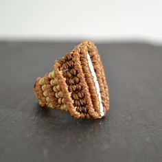 macrame and silver ring
