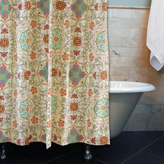 Give your bathroom a regal makeover with this stunning polyester shower curtain. Featuring an intricate pattern in rich colors, this curtain ties together the look of your bath. The polyester construction makes this piece durable and easy to clean.