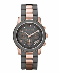 Michael Kors Women's MK5465 Runway Grey & Rose Gold-Tone Stainless Steel Watch Michael Kors. $182.95. Band circumference: 175mm. Silicone & stainless steel watch. Water resistance: 10 atm. Durable mineral crystal protects watch from scratches,. Chronograph movement. Save 27%!