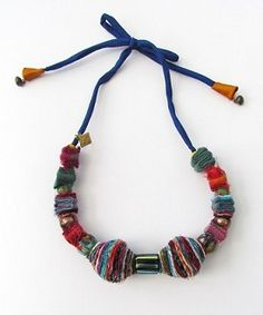 handmade silk and cotton necklace