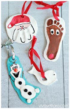 Décoration de Noël en pâte à sel : père Noël, cerf, bonhomme de neige et oiseau