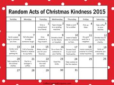 This random acts of kindness advent calendar is such a great way to slow down and focus on what matters this holiday season.We've been doing a RACK (random acts of Christmas kindness) calendar for years and have found the benefits to be more than you would imagine. New for 2015 I made TWO versions! Choose which works best for your family or class!DOWNLOAD HERE: http://www.coffeecupsandcrayons.com/kindness-is-the-best-way-to-countdown-to-christmas