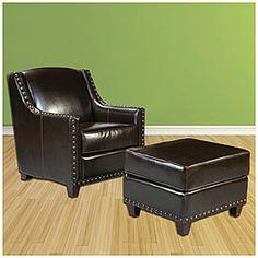 Nailhead Chair and Ottomans 100 - 250  @ Big Lot