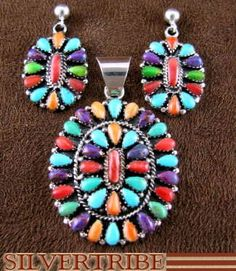 Southwest Jewelry Multicolor Pendant And Earrings Set DS47981