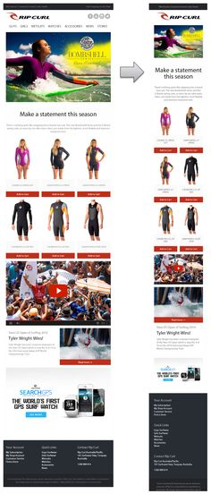 Fully sick responsive email design from Rip Curl #responsivedesign #responsiveemaildesign
