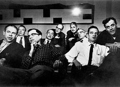 "the earliest known photo of all of walt disney's ""nine old men"" together, from the 1950's (l to r): ward kimball, eric larson, frank thomas, marc davis, ollie johnston, les clark, milt kahl, john lounsbery and wolfgang ""woolie"" reitherman."