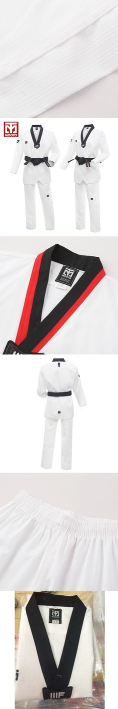 MOOTO IIIF uniform High quality child adult WTF taekwondo karate dobok cotton breathable fitness sport clothes suit black V-neck