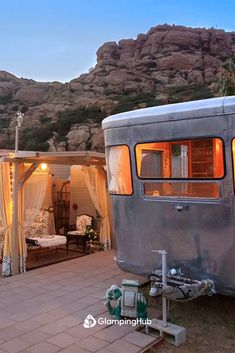 Vintage Glamping Travel Trailer with Views of San Fernando Valley near Los Angeles, California Romantic Vacations, Romantic Getaways, Go Glamping, Simi Valley, Road Trip Destinations, San Fernando Valley, The Perfect Getaway, Vintage Travel Trailers, San Fransisco