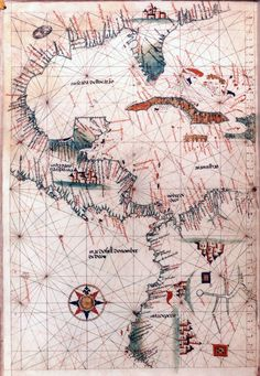 16th-century map of America. Accurately depicts the Caribbean and the Pacific off the coasts of Central America.
