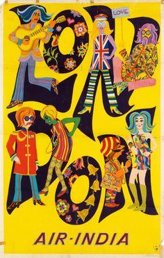 Air India London Poster ~ 1968