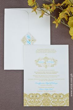 Fresh Start | Written in Ink #winkinvitations #wedding #invitation #yellow #gold #damask #flower #elegant Tagaytay, Start Writing, Fresh Start, Damask, Invite, Wedding Invitations, Reception, Place Card Holders, Ink
