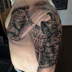 Gladiator Combat Tattoo On Man