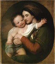 Mrs. Benjamin West and Her Son Raphael - Benjamin West