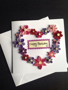 Paper Quilling Flower Greeting Card by SweetLittleGifts13 on Etsy, £2.99