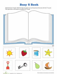 """Letter """"S"""" Book Cut & Paste Activity (from Education.com)"""