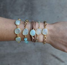 Aqua Chalcedony Bezel stone bracelet with gold di joydravecky