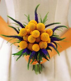 craspedia and veronica bouquet