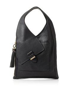 I love this classic black purse with an awesome unique shape and slanted detail.