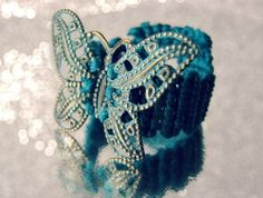 Turquoise macrame knots butterfly ring. Bold jewelry | RitaSunderland.com