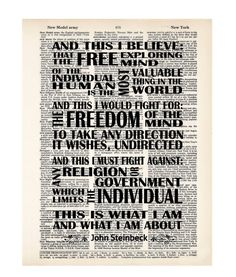 John Steinbeck East Of Eden Quote And This I Believe by Motif4U