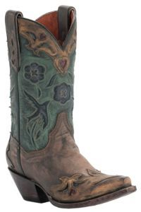 Dan Post® Ladies Sanded Copper w/ Turquoise Blue Bird Top Snip Toe Western Boots | Cavender's