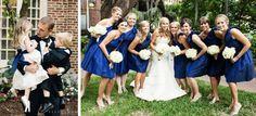 Navy short bridesmaids dresses; St. Luke's Chapel, Charleston SC