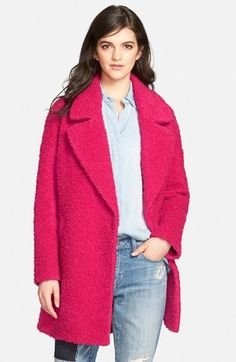Betsey Johnson Notch Collar Bouclé Coat available at #Nordstrom