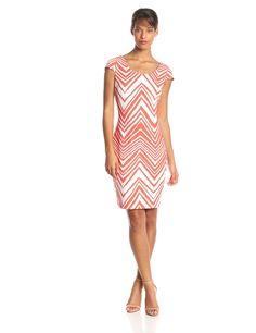 Cap Sleeve Chevron Print Sheath Dress by Sangria