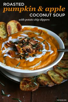 Roasted Pumpkin + Apple Coconut Soup with Potato Chip Dippers (Vegan ...