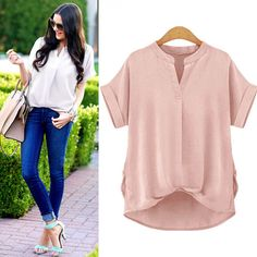 V-neck can show your sexy clavicle.In your free time,you do need a blouse like this casual and comfortable,this blouse choose loose silhouette design,you can wear it to go shopping or go to school,whi