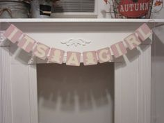 It's A Girl Baby Shower Banner by ItzMyParty on Etsy